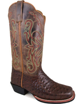 "Smoky Mountain Women's Belle 11"" Crackle Leather Cowgirl Boots - Square Toe, Brown, hi-res"