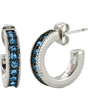 Montana Silversmiths Women's Blue Starlight Hoop Earrings , Silver, hi-res