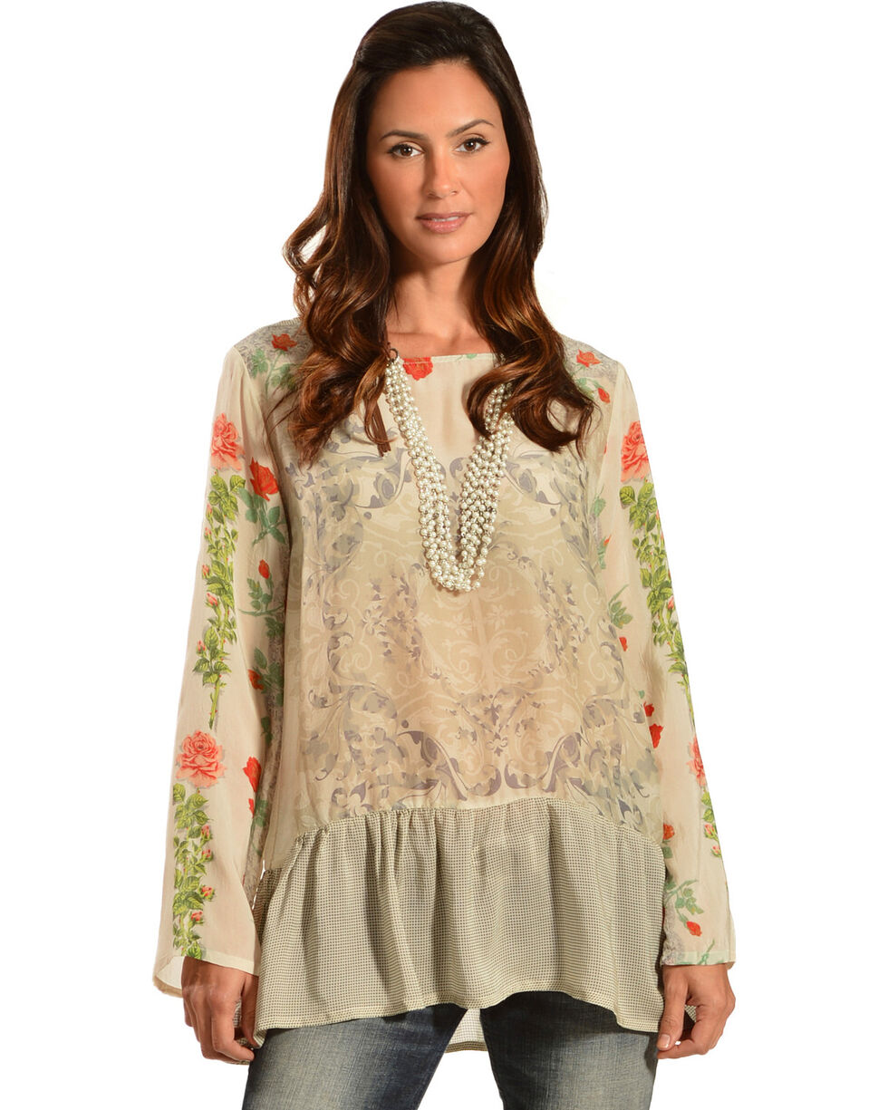 Johnny Was Women's Ruffle Hem Print Tunic Top, Print, hi-res