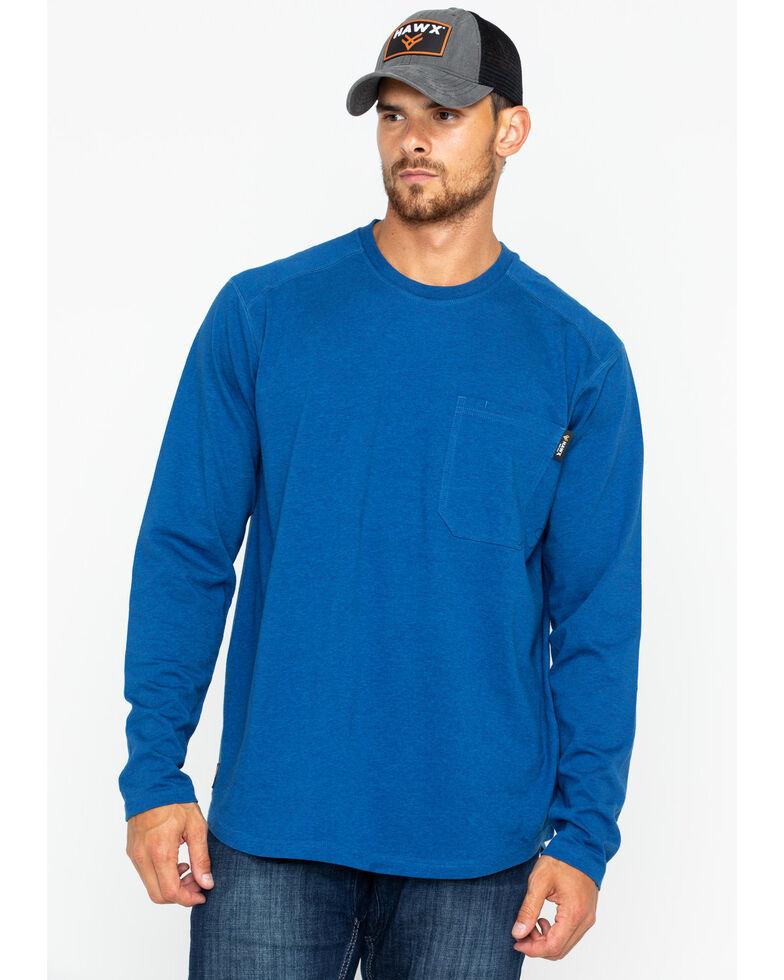 Hawx Men's Solid Pocket Crew Long Sleeve Work T-Shirt , Heather Blue, hi-res