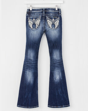 Miss Me Girls' Angel Wing Flap Jeans - Boot Cut , Blue, hi-res