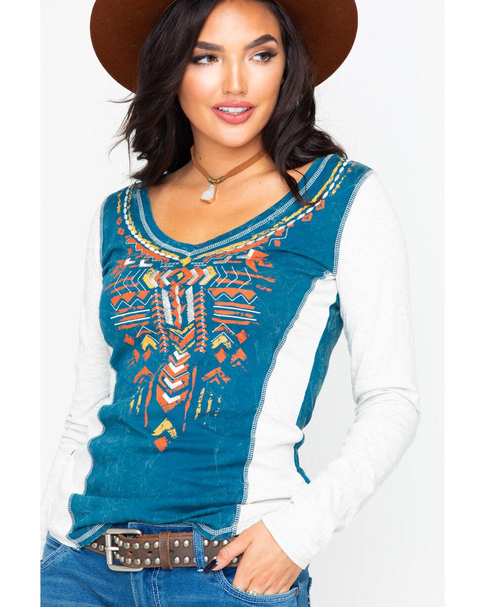 Panhandle Women's Aztec Screen Print V-Neck Long Sleeve Top , White, hi-res