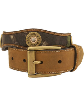 Nocona Mossy Oak Kids' 12-Gauge Leather Belt - 18-26, Camouflage, hi-res