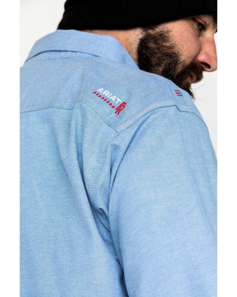 Ariat Men's FR Solid Durastretch Long Sleeve Work Shirt - Big , Blue, hi-res