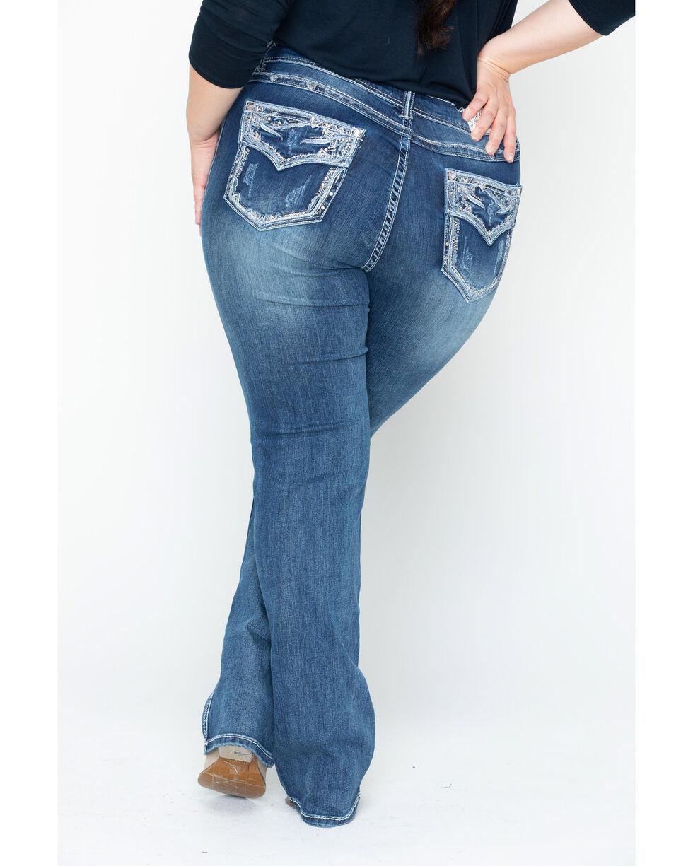 Grace in LA Women's Dark Wash Crystal Edge Boot Cut Jeans - Plus Size , Indigo, hi-res