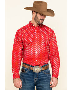 Ariat Men's Nelton Stretch Aztec Geo Print Long Sleeve Western Shirt - Tall , Red, hi-res