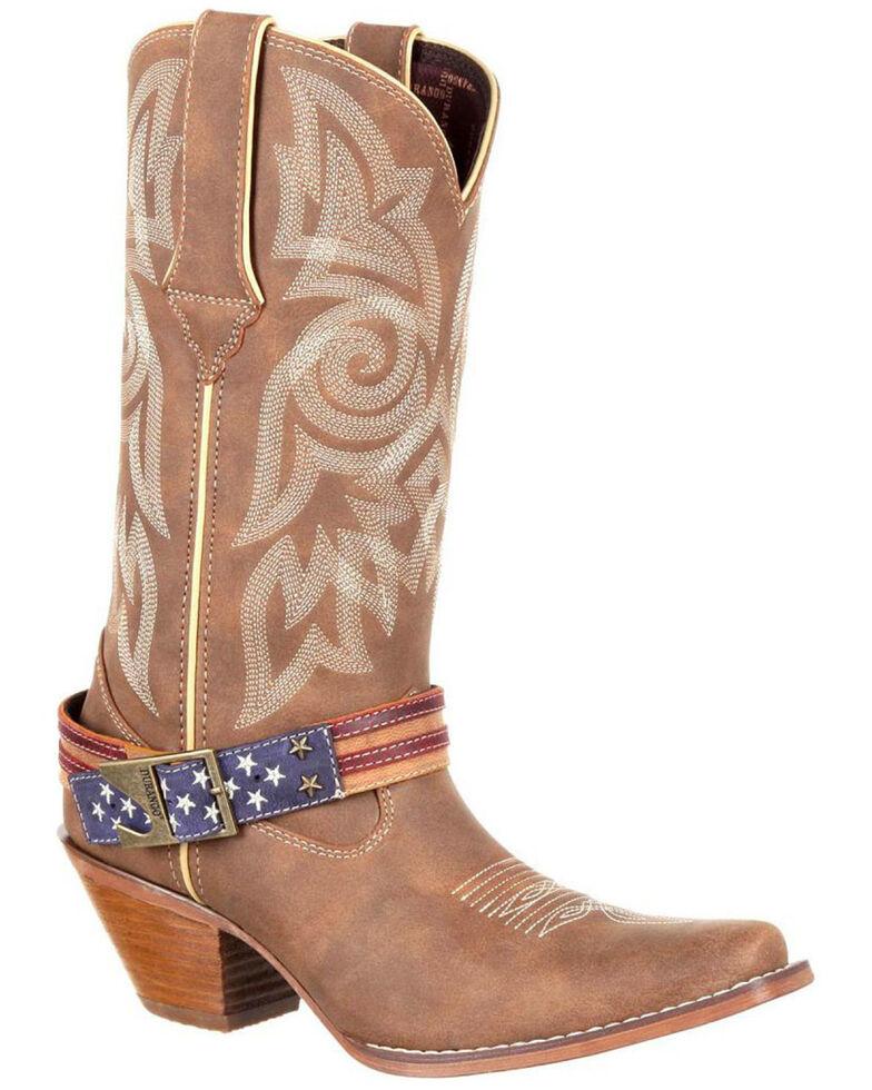 Durango Women's American Flag Buckle Western Boots, Brown, hi-res
