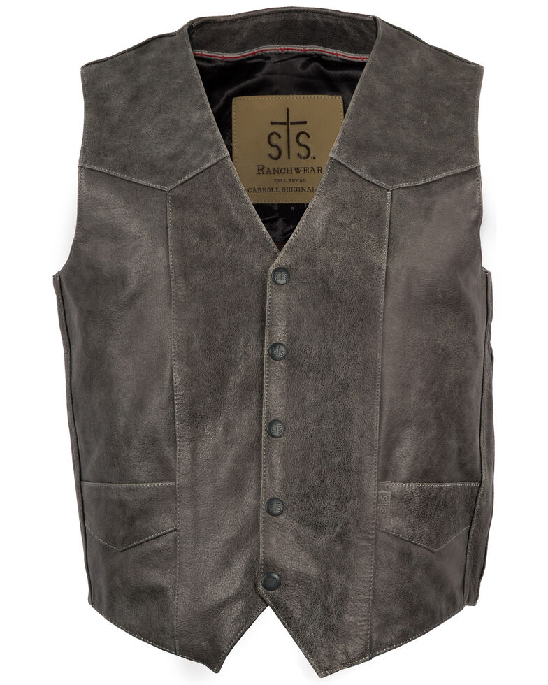 STS Ranchwear Men's Black Gunsmoke Antique Leather Chisum Vest , Black, hi-res