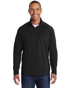 Sport Tek Men's Black 2X Sport Wick Stretch 1/2 Zip Pullover Work Sweatshirt - Big, Black, hi-res