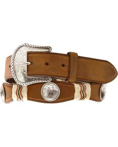 Tony Lama Concho Rawhide Leather Belt - Reg & Big, Brown, hi-res