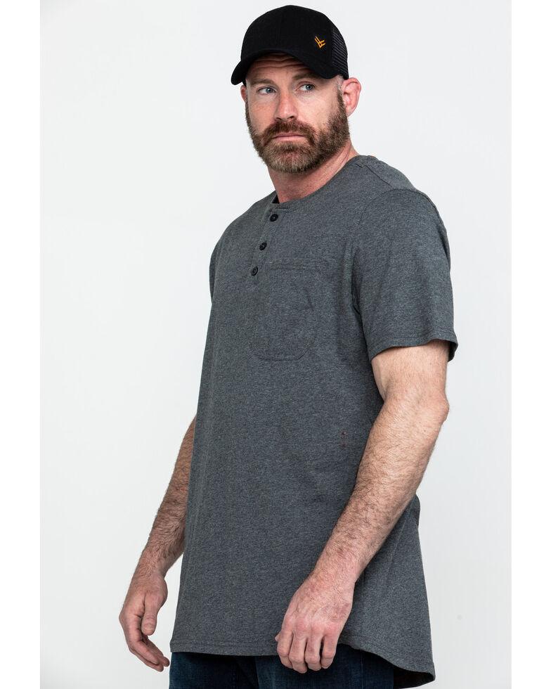 Hawx Men's Pocket Henley Short Sleeve Work T-Shirt , Charcoal, hi-res