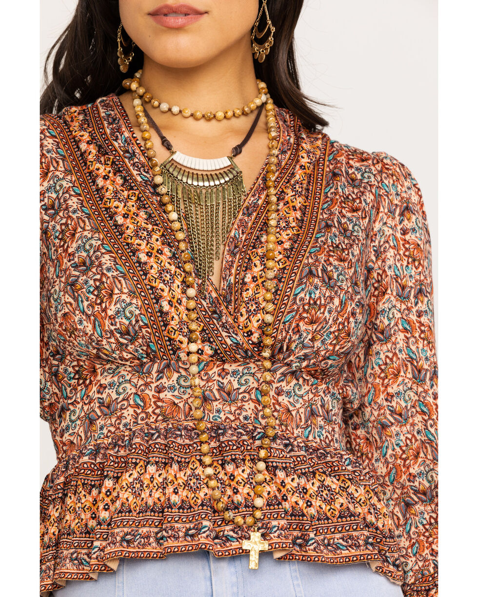 Angie Women's Rust Paisley Border Crop Top, Rust Copper, hi-res
