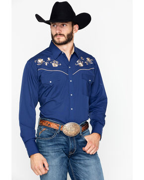 Ely Cattleman Men's Solid Long Sleeve Embroidered Western Shirt , Navy, hi-res