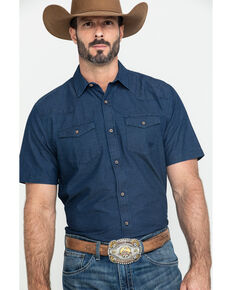 Ariat Men's Jasco Retro Solid Long Sleeve Western Shirt , Indigo, hi-res
