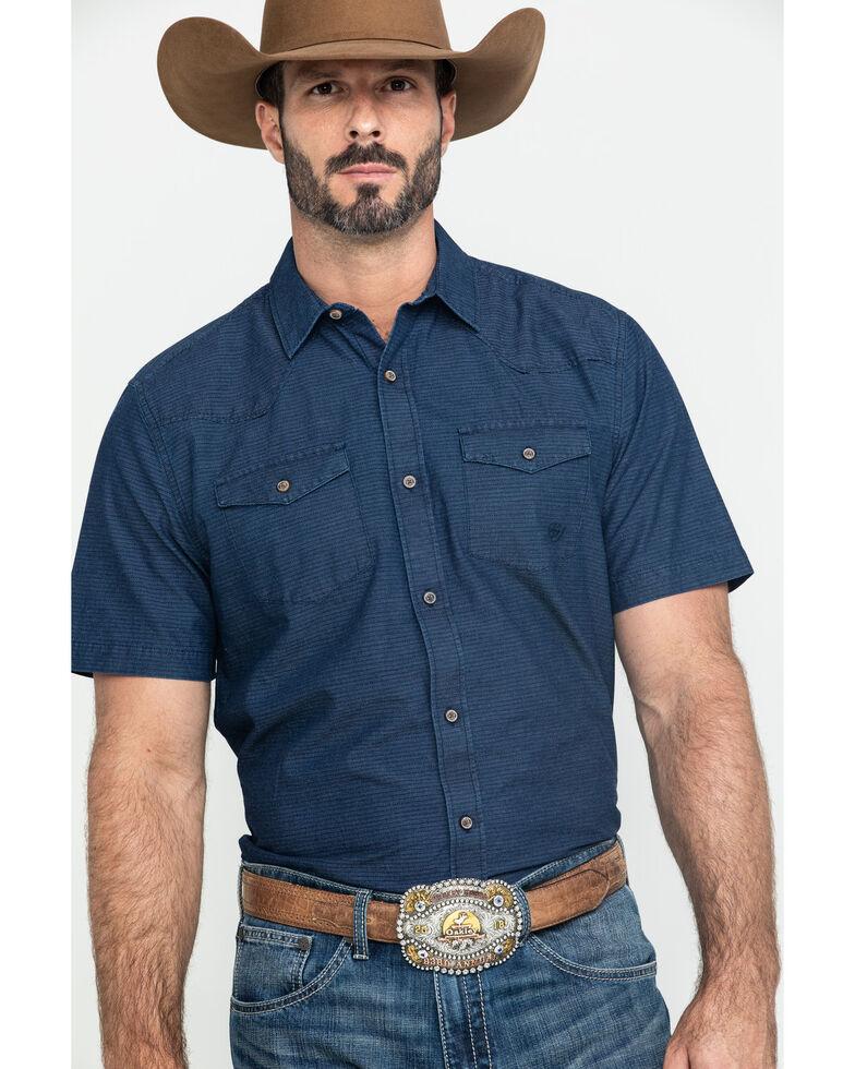 Ariat Men's Jasco Retro Solid Long Sleeve Western Shirt , Indigo, hi-res