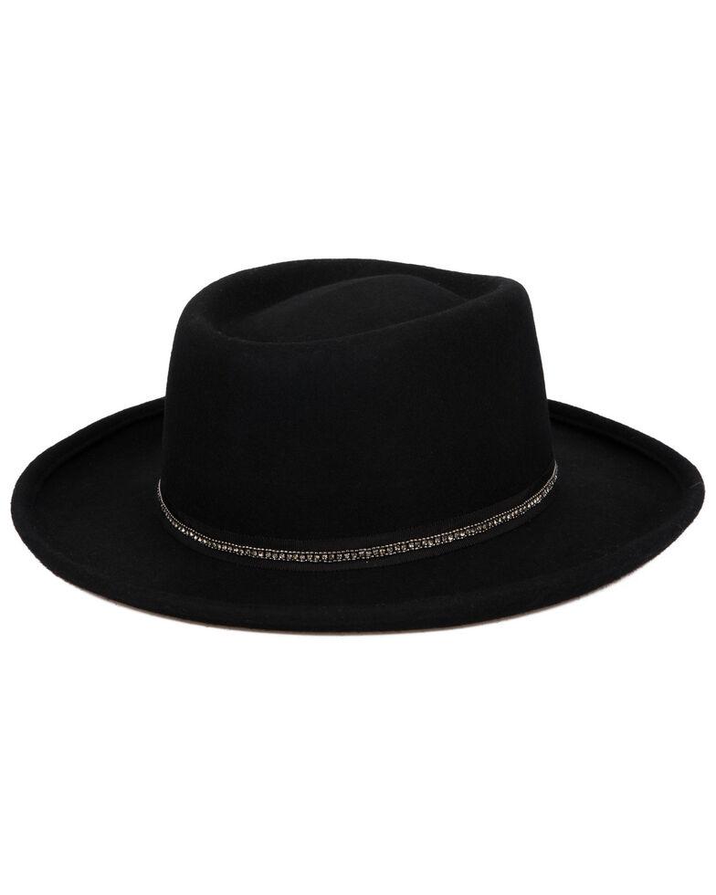 San Diego Hat Company Women's Sequins Grossgrain Wool Felt Gambler Hat, Black, hi-res