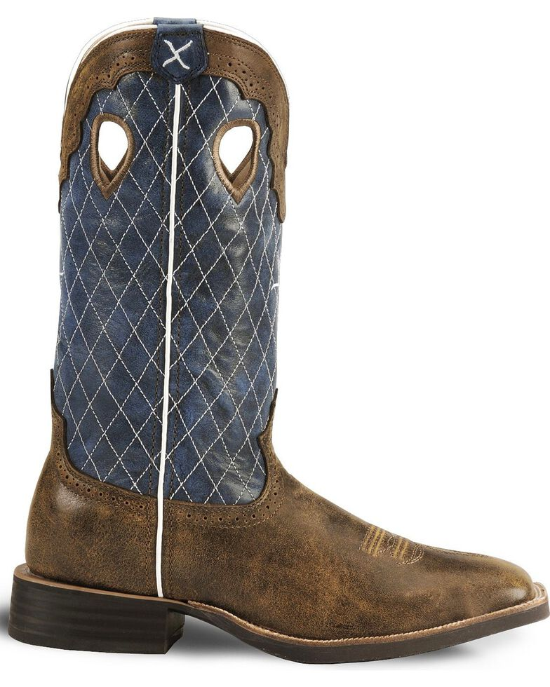 Twisted X Men's Distressed Ruff Stock Cowboy Boots - Wide Square Toe, Distressed, hi-res