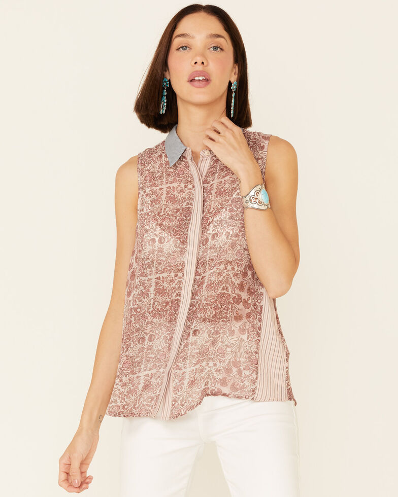 Mystree Women's Blush Floral Chiffon Sleeveless Button-Down Top , Blush, hi-res