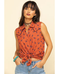 Cotton & Rye Outfitters Women's Rust Cactus Print Sleeveless Shirt, Rust Copper, hi-res