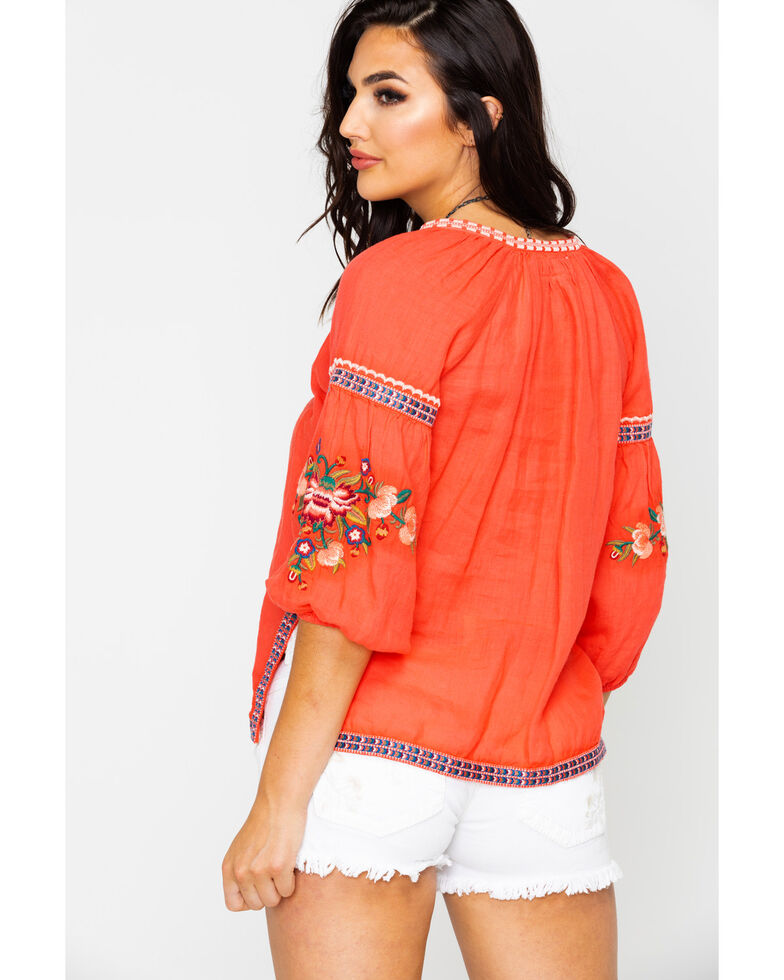 Johnny Was Women's Juliene Peasant Blouse , Coral, hi-res
