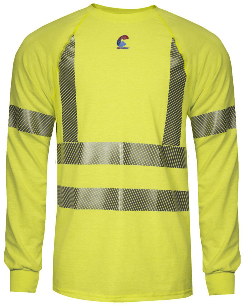 National Safety Apparel Men's Hi-Vis FR Control 2.0 LS Type R Class 3 Base Layer Shirt - Tall, Bright Yellow, hi-res