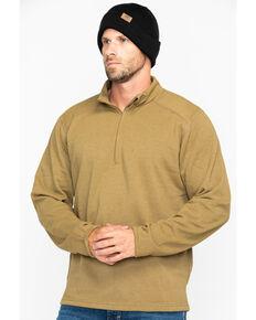 NSA Drifire Men's Brown Mock Zip Fleece Work Pullover, Brown, hi-res