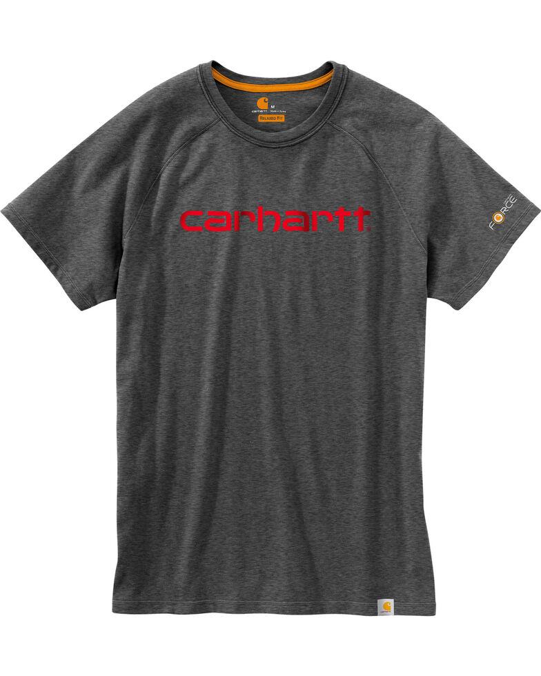 Carhartt Force Men's Cotton Delmont Graphic Short Sleeve Shirt - Big , Charcoal, hi-res