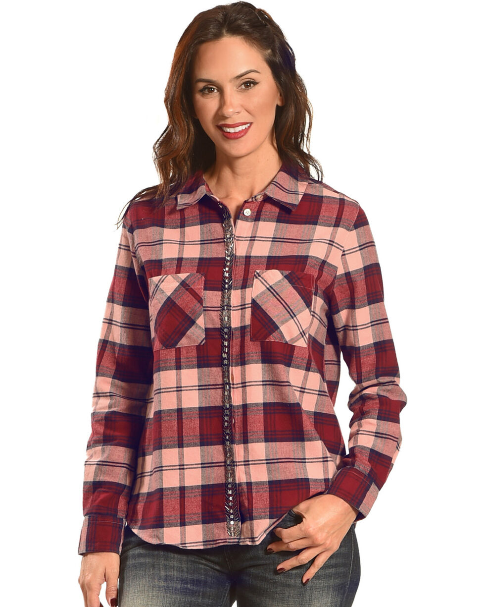 Shyanne Women's Plaid Flannel with Beaded Placket, Burgundy, hi-res