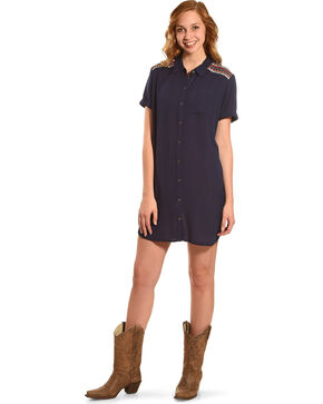 Miss Me Women's Navy Embroidered Shoulder Dress , Navy, hi-res
