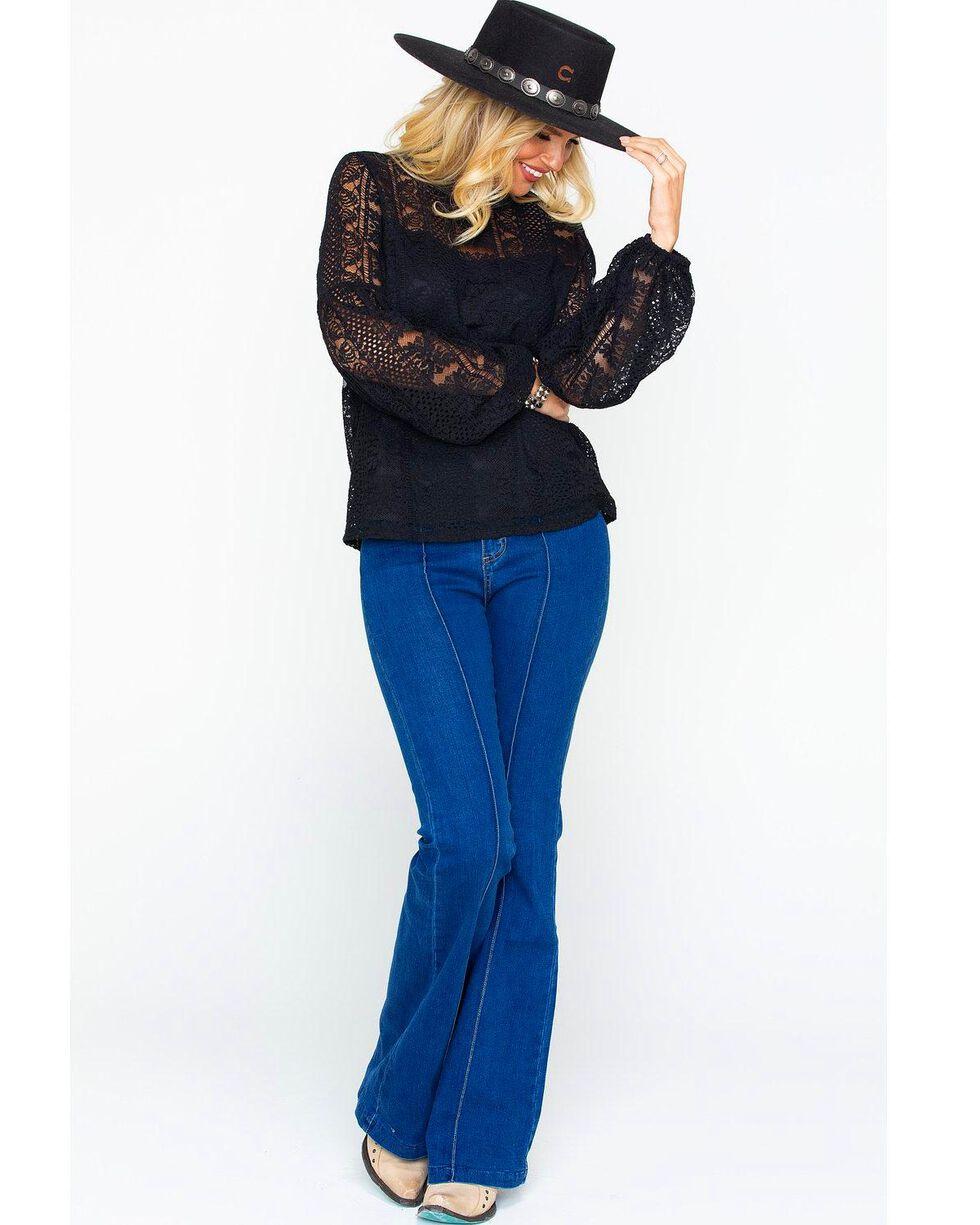 Eyeshadow Women's Lace Sheer Yoke Solid Long Sleeve Top , Black, hi-res