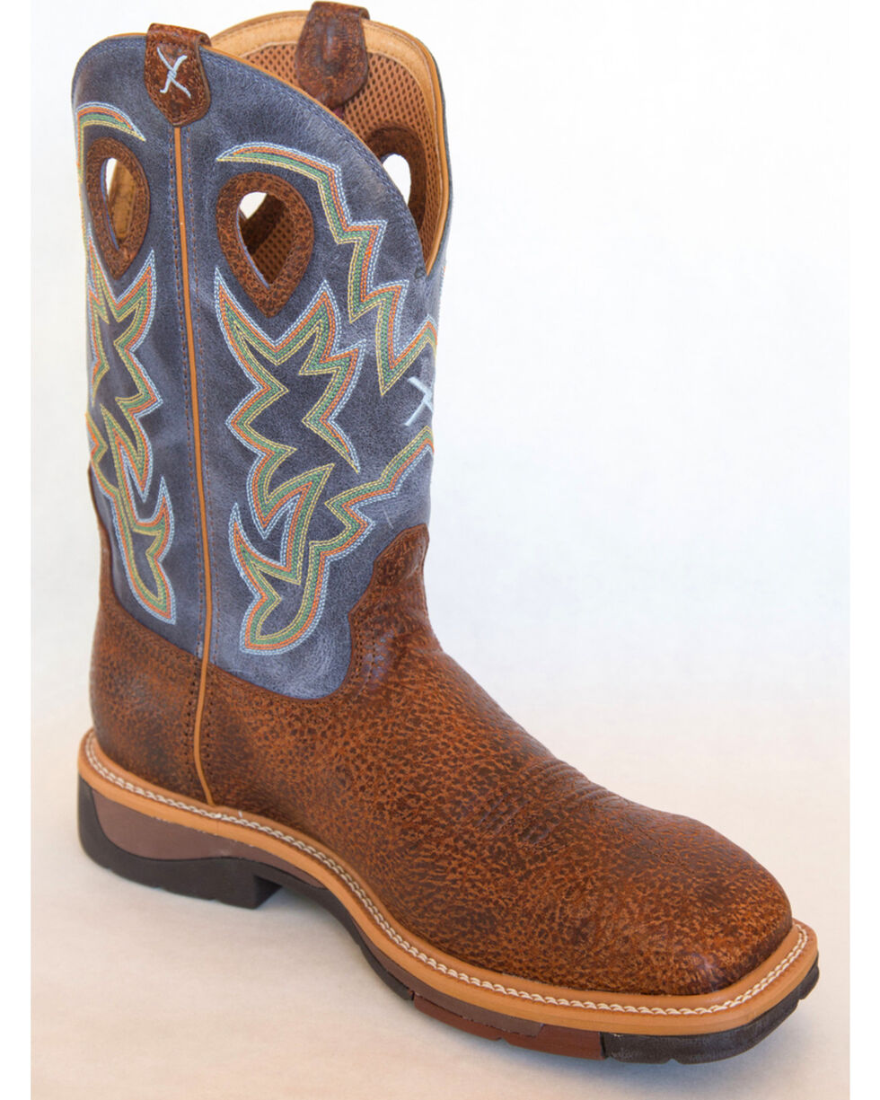 Twisted X Navy Lite Cowboy Work Boots - Soft Square Toe , Peanut, hi-res