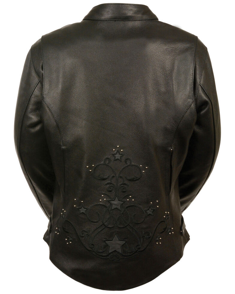 Milwaukee Leather Women's Reflective Star Leather Jacket - 3X, , hi-res