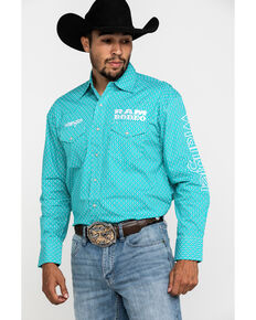 Wrangler Men's Teal Geo Print Ram Logo Long Sleeve Western Shirt , Teal, hi-res