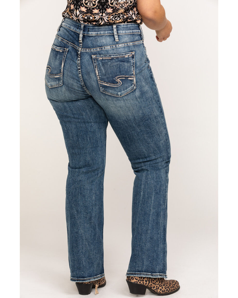 Silver Women's Elyse Mid-Rise Curvy Relaxed Slim Boot Cut Jeans - Plus, Indigo, hi-res