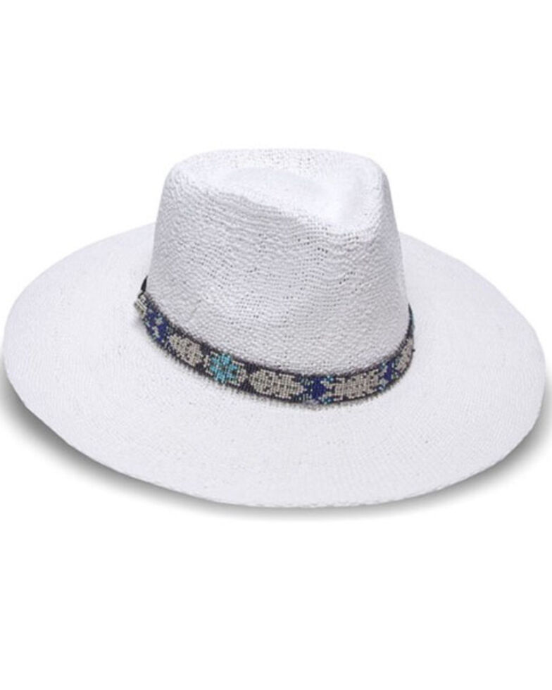Nikki Beach Women's White Aspen Toyo Straw Rancher Hat , White, hi-res