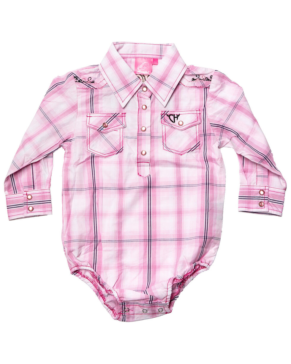Cowgirl Hardware Infant Girls' Embroidered Cowgirl Plaid Long Sleeve Western Romper, Pink, hi-res