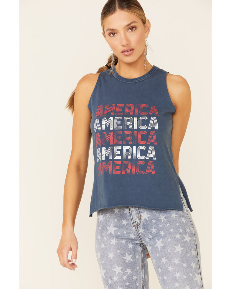 Panhandle Women's Navy America Graphic Tank Top , Navy, hi-res