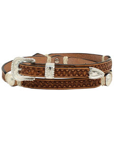 M & F Western Men's Stamp Rawhide Concho Hatband, Natural, hi-res