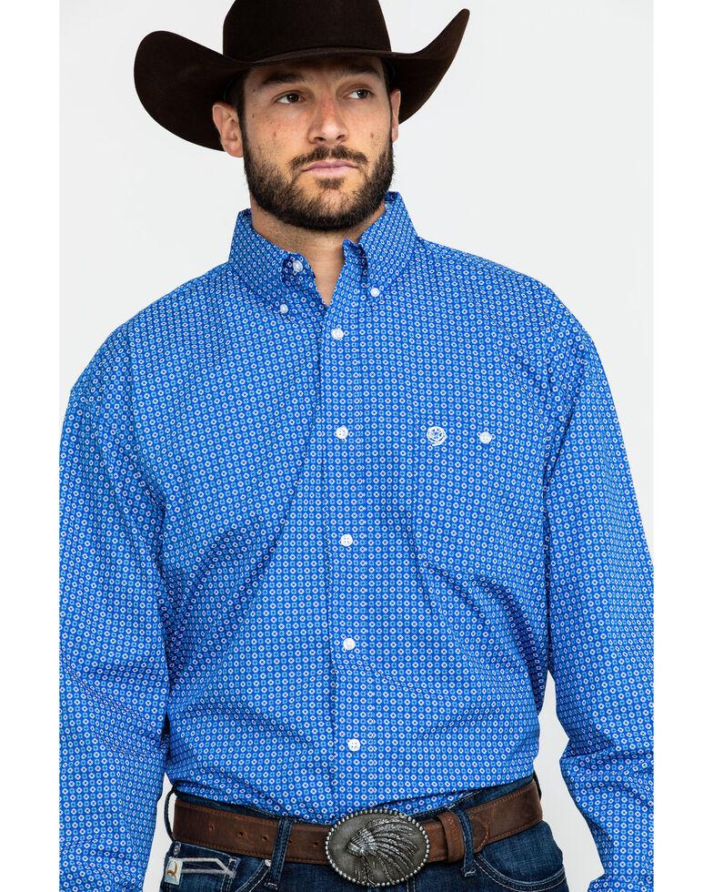 George Strait by Wrangler Men's Royal Blue Geo Print Long Sleeve Western Shirt , Blue, hi-res