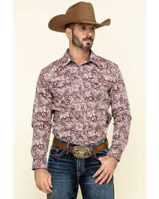 Cody James Men's Amarillo Large Floral Print Long Sleeve Western Shirt , Maroon, hi-res