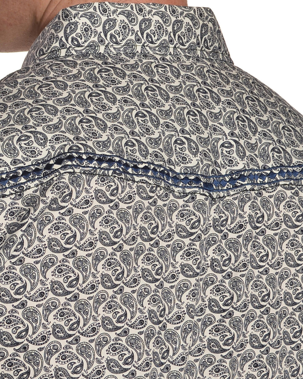 Cowboy Hardware Men's Paisley and Diamond Stitched Long Sleeve Shirt, Navy, hi-res