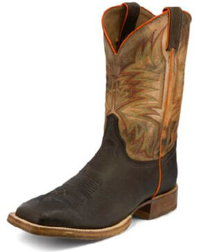 Justin Men's Hidalgo Western Boots - Wide Square Toe, Brown, hi-res