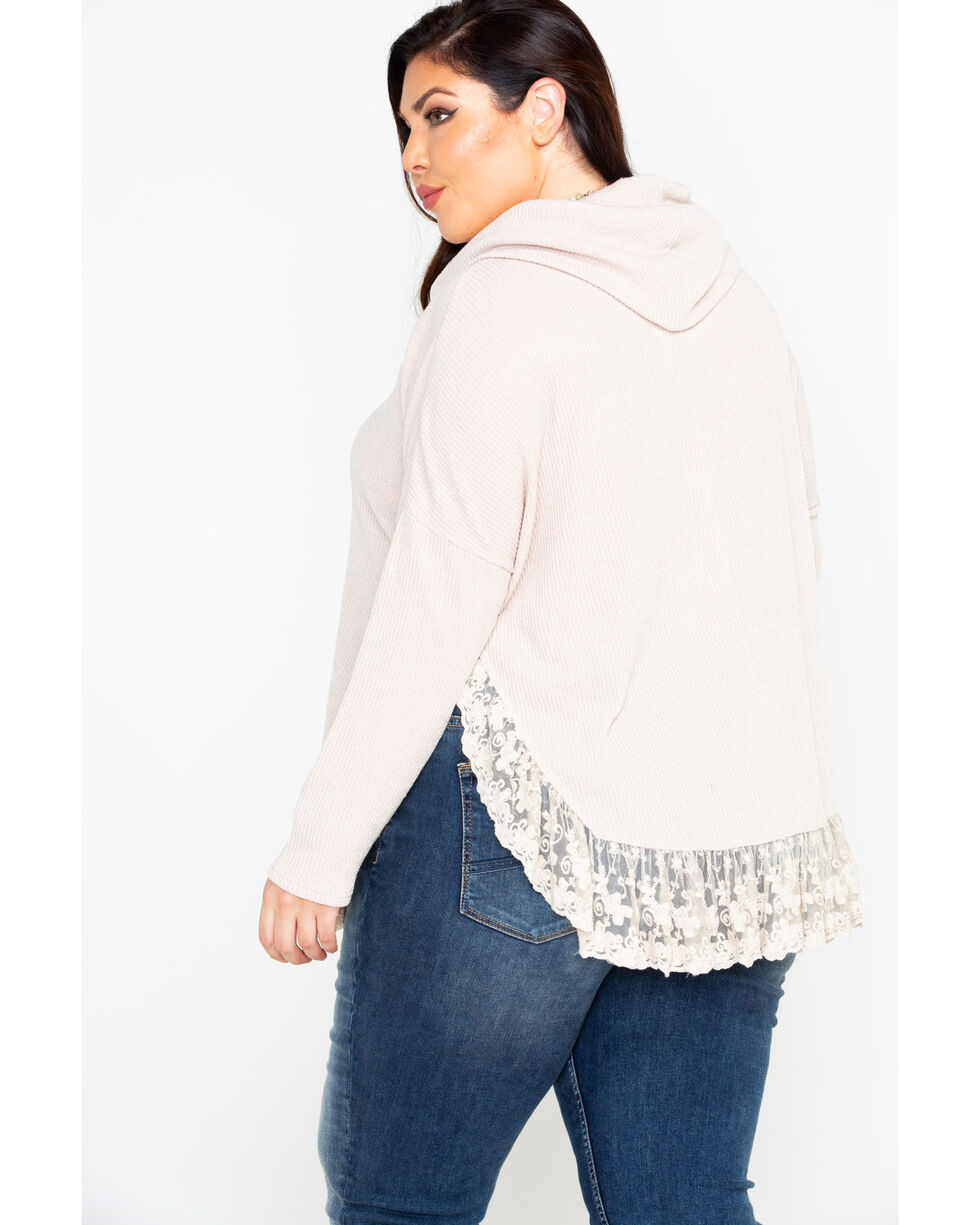 Flying Tomato Women's Lace Trim Cowl Neck Sweater - Plus , Taupe, hi-res