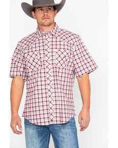 Wrangler 20X Men's Plaid Competition Comfort Short Sleeve Western Shirt, Black/red, hi-res
