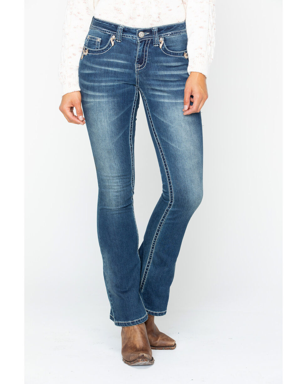Shyanne Women's Gold Scroll Embroidered Jeans - Boot Cut, Blue, hi-res