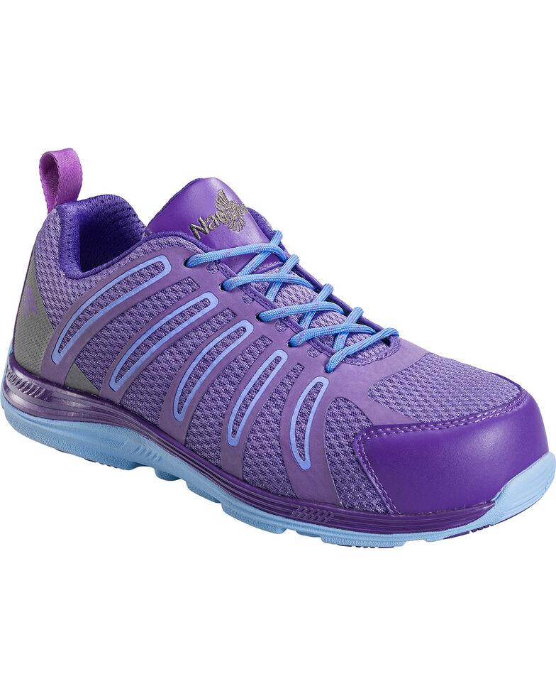Nautilus Women's Purple Wedge Sole Work Shoes - Comp Toe , Blue, hi-res