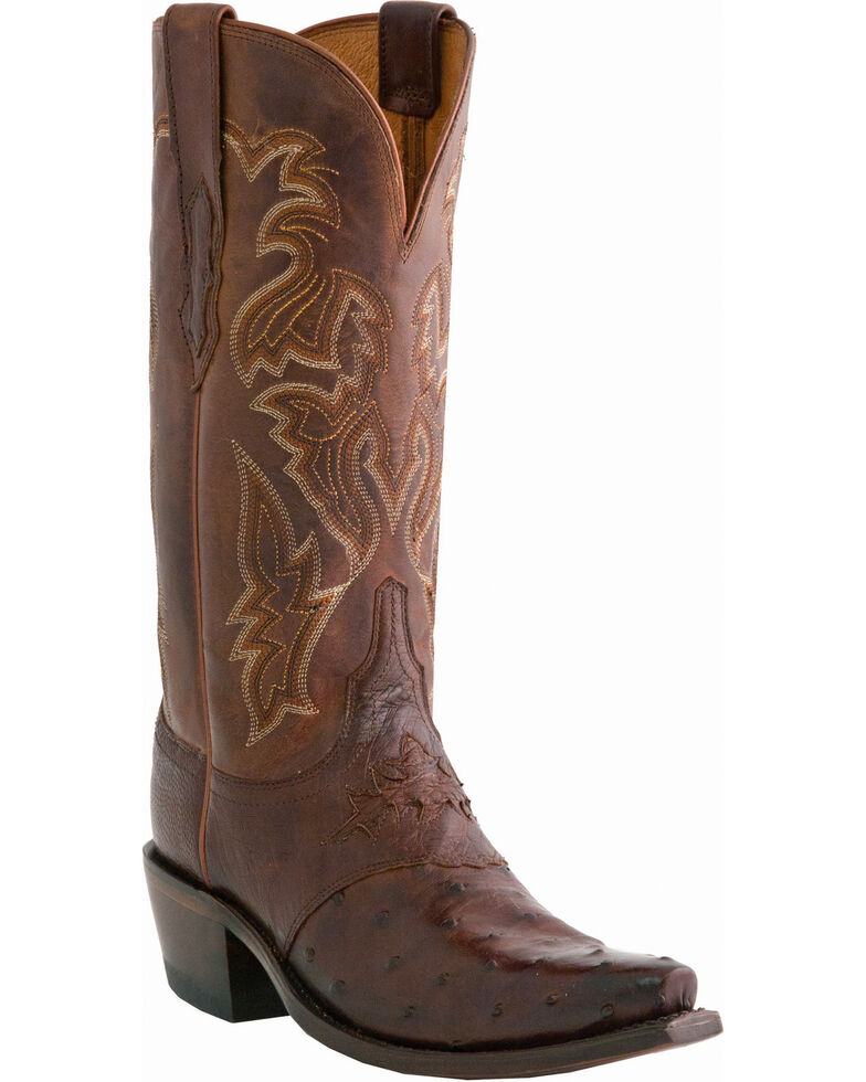 Lucchese Women's Augusta Exotic Ostrich Western Boots, Sienna, hi-res