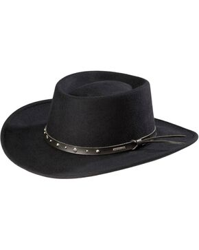 Stetson Black Hawk Crushable Wool Hat, Black, hi-res