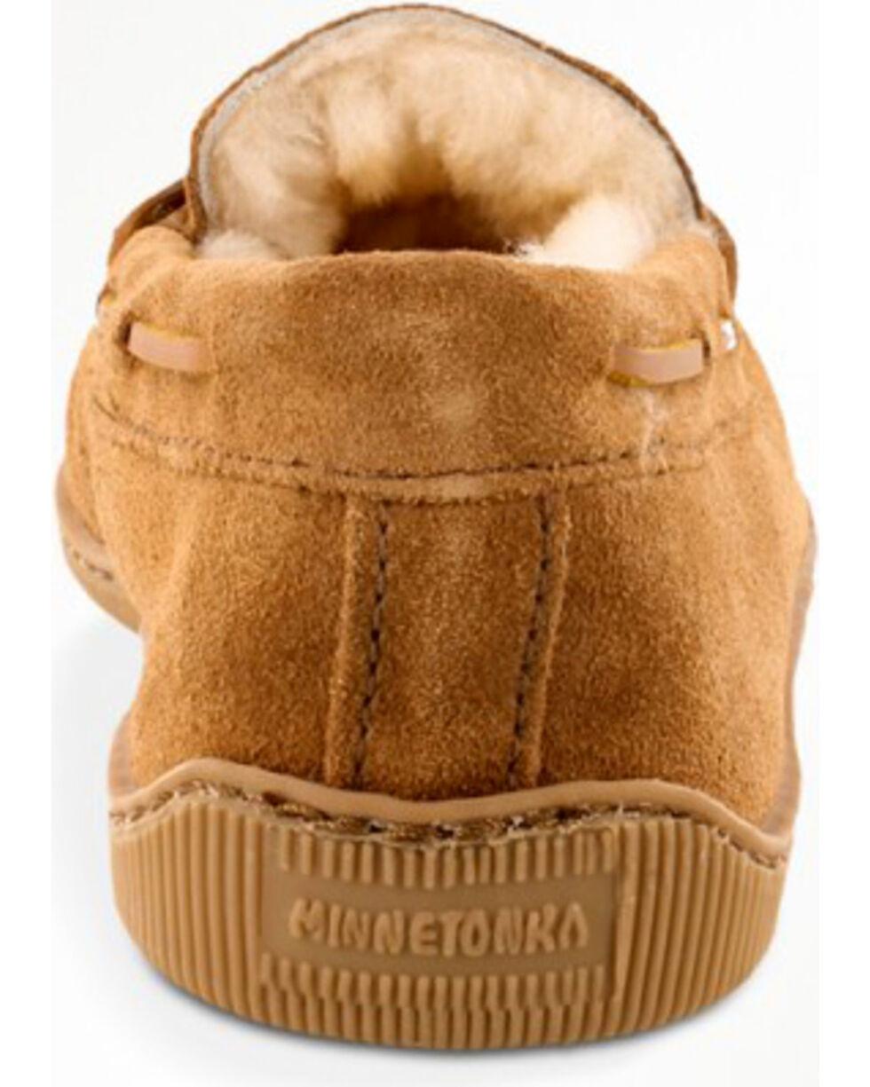 Minnetonka Men's Sheepskin Hardsole Moccasins, Tan, hi-res