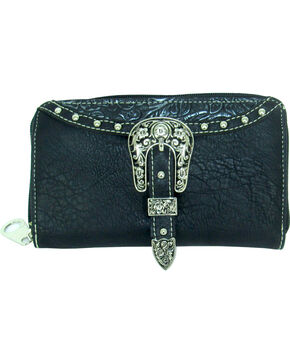 Savana Women's Embossed Trim Buckle Zip-Around Wallet, Black, hi-res
